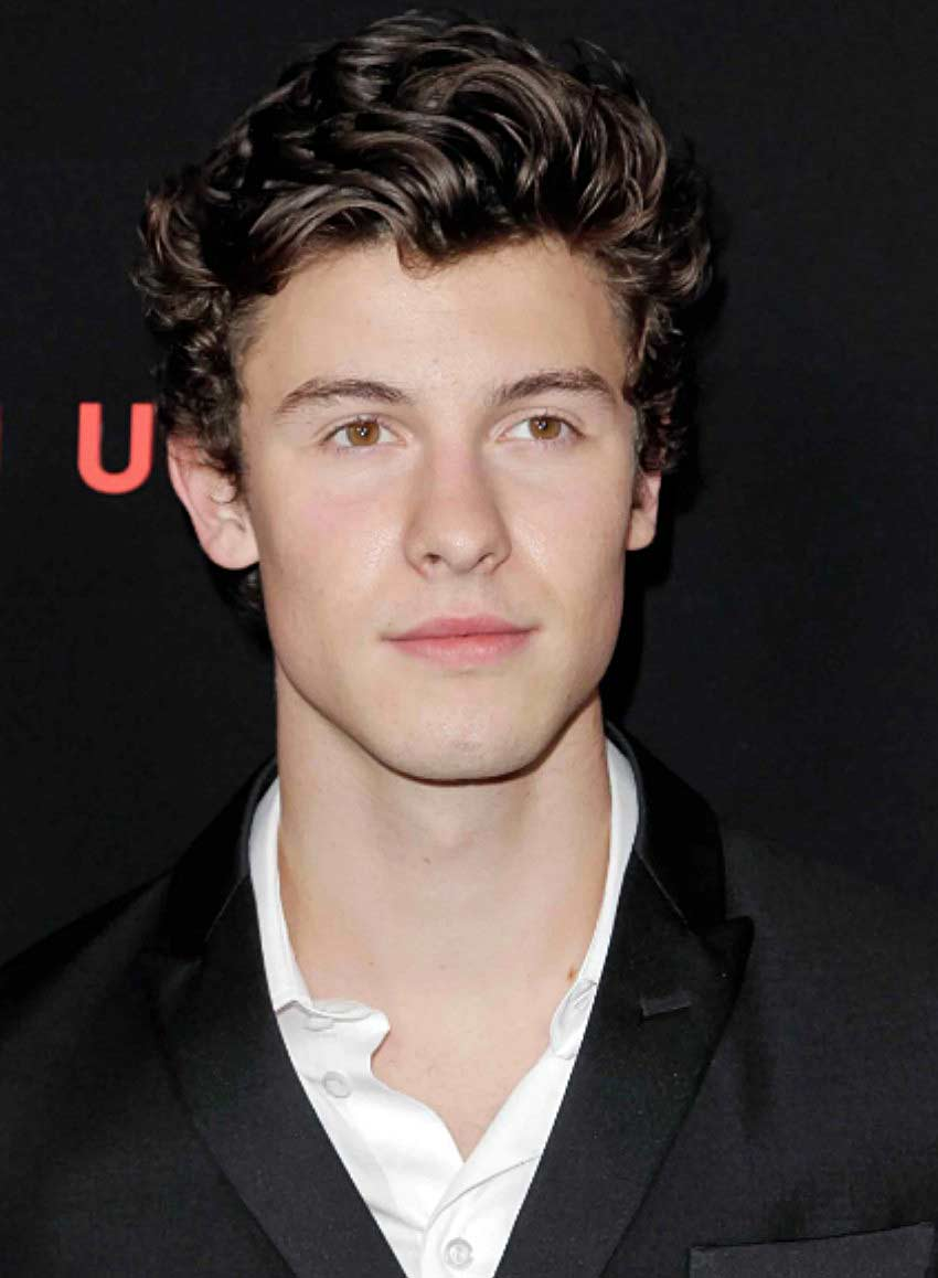 Shawn Mendes with side burn curls