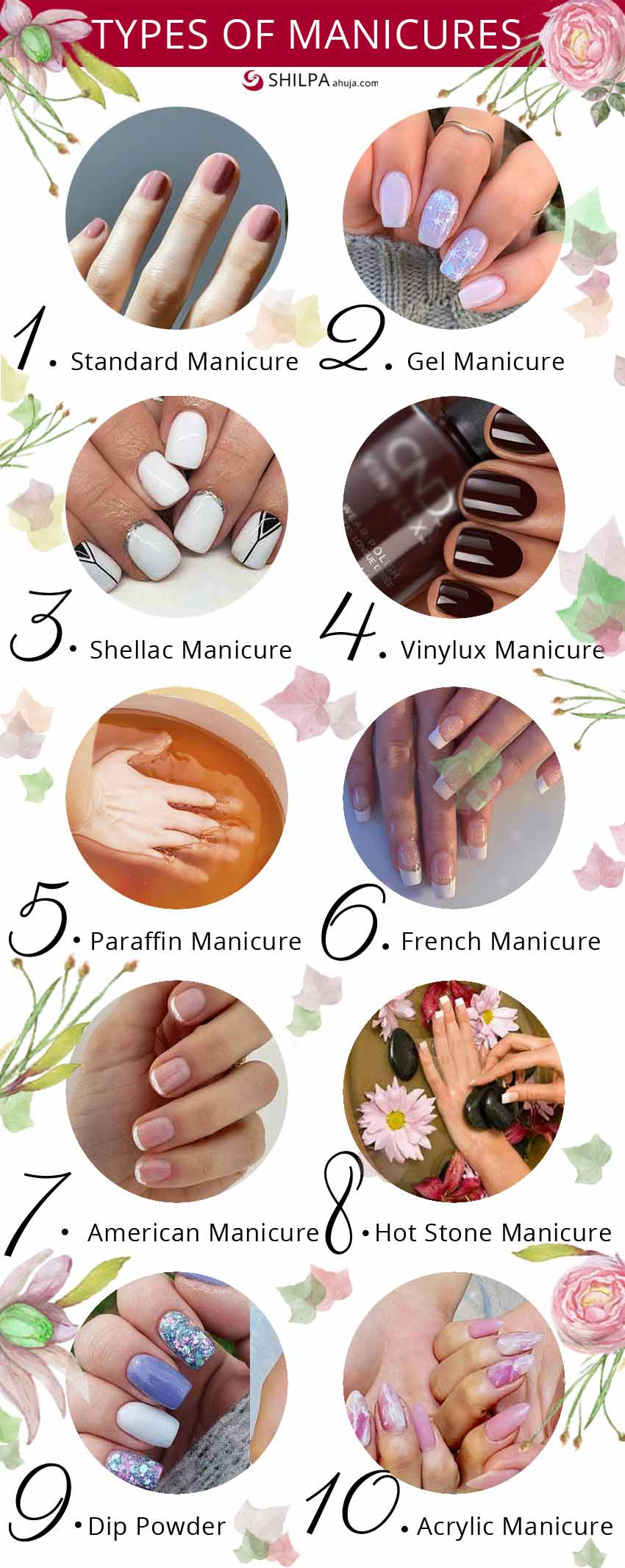 different types of nail manicure mani diy salon