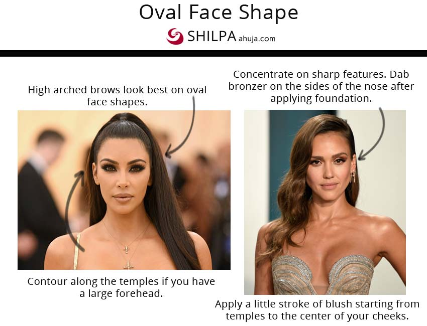 makeup vibes oval face shape celebs