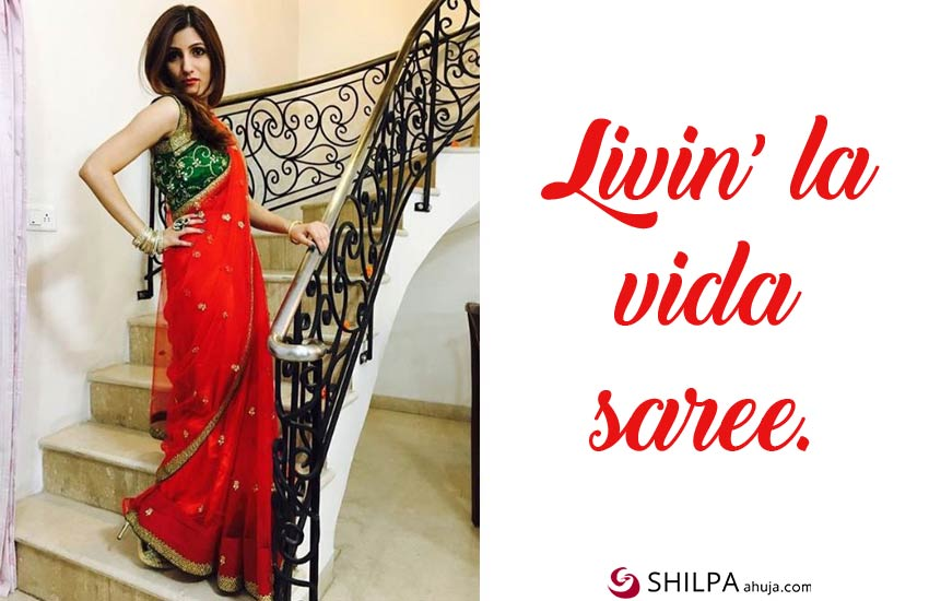 red-saree-quotes-for-instagram ethnic wear captions ig