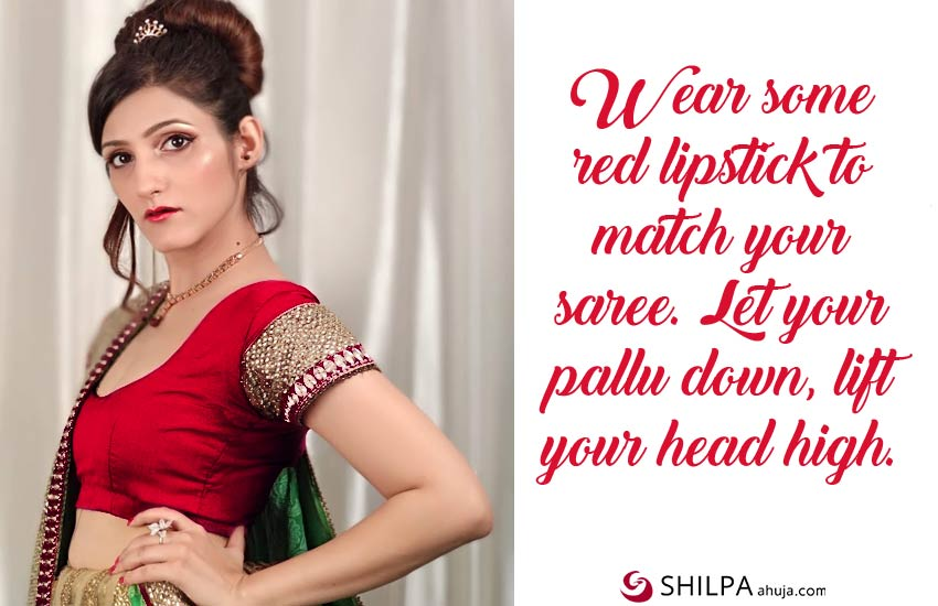 red-saree-quotes-for-instagram-shilpa ahuja ig celebrity