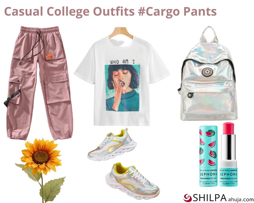 Cargo Pants via Shein, Graphic T-shirt via H&M, Lip Balm via Sephora