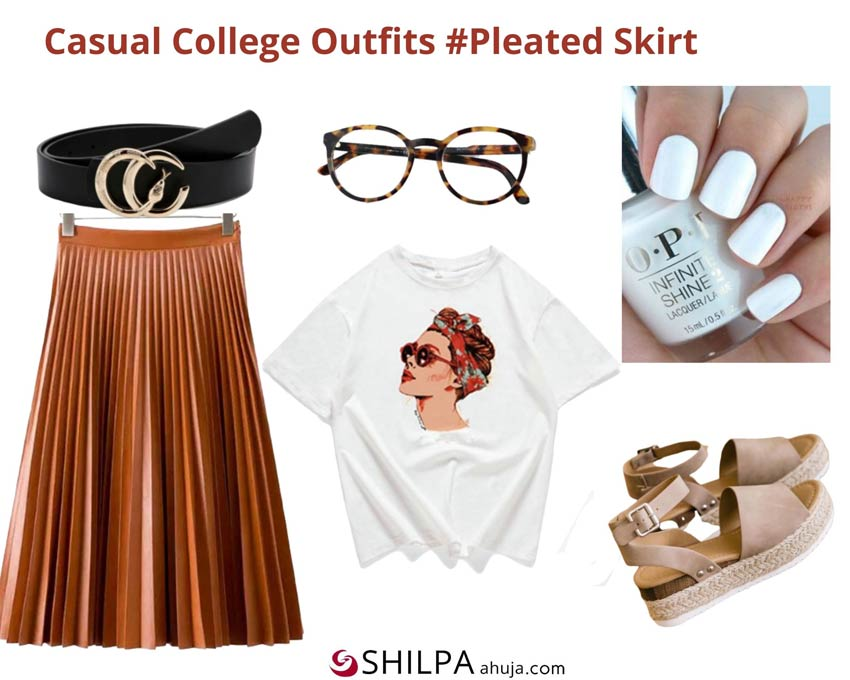 Pleated Skirt, White T-Shirt and Broad Belt via Shein, Nail Paint via O.P.I