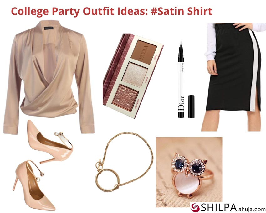 For how to dress for college party outfit ideas a satin shirt via Pinterest, pencil heels via Shein, and side strapped hem skirt via Shein