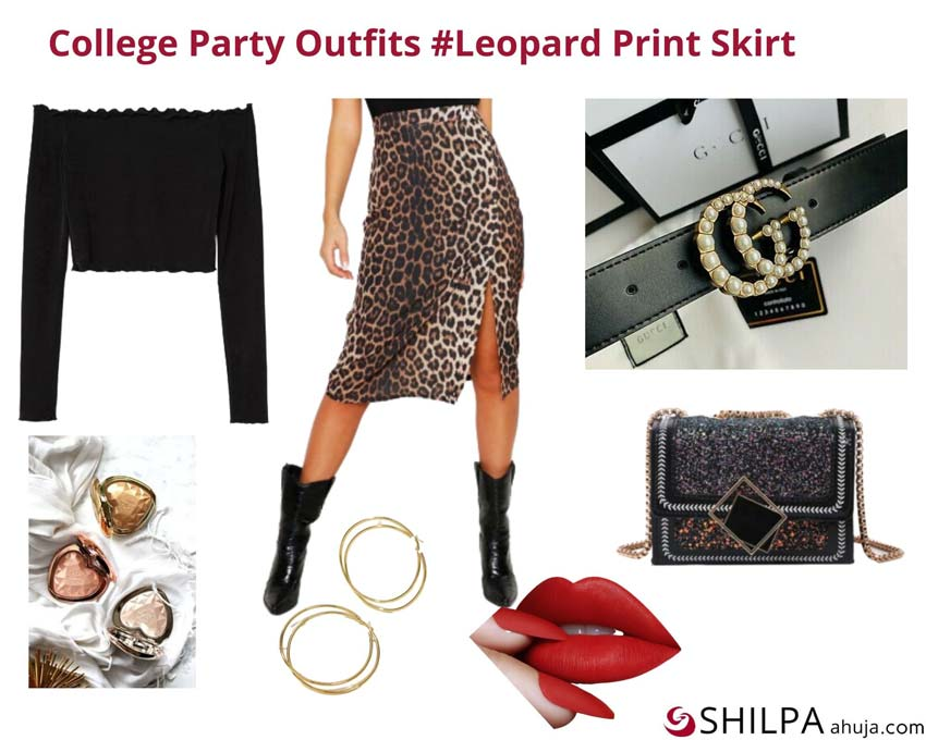 Leopard Print Skirt via Shein, Off-shoulder Top via Pinterest, and Gucci Belt via Pinterest.