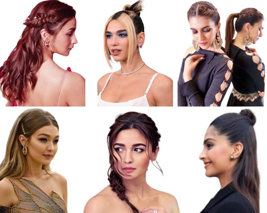 Hairstyles via@aliabhatt, @kritisanon, @gigihadid, Dua Lipa, @sonamkapoor