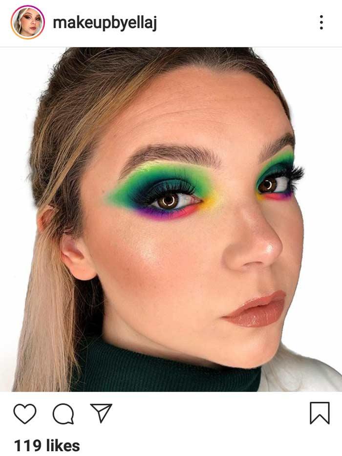 rainbow eyes cool trending makeup look