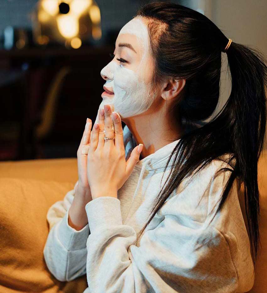 beauty routine during quarantine applying facepack