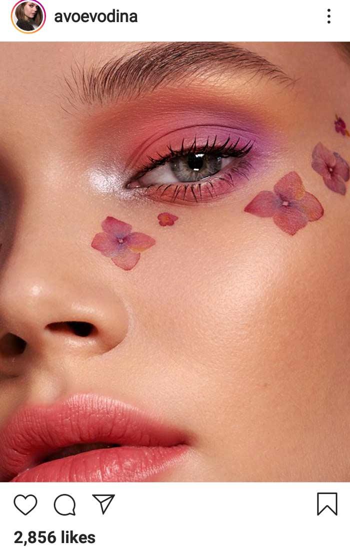 floral patterns below eyes latest trending makeup look