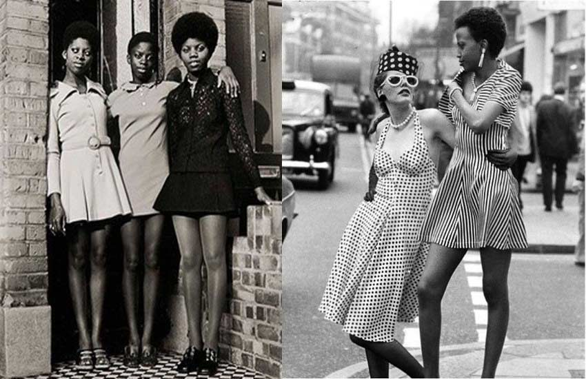 70s fashion trends dresses polka dots afro styles