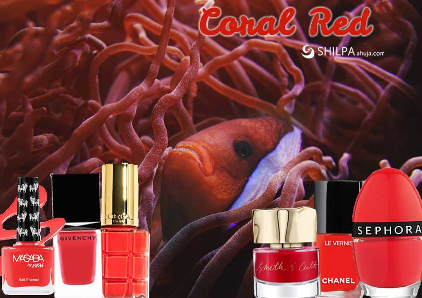 coral-red-orangish-trending nail polish colors-christmas