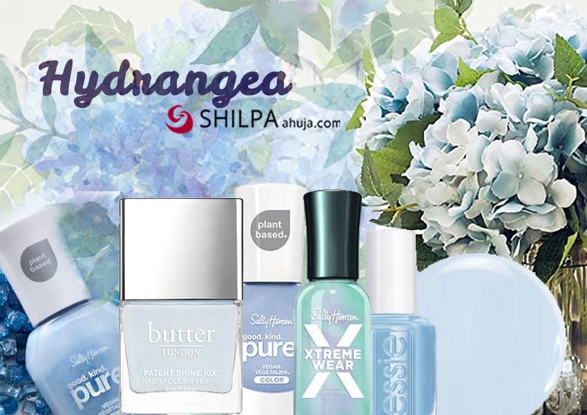 hydrangea-light-blue-trending nail polish colors-flower-formal