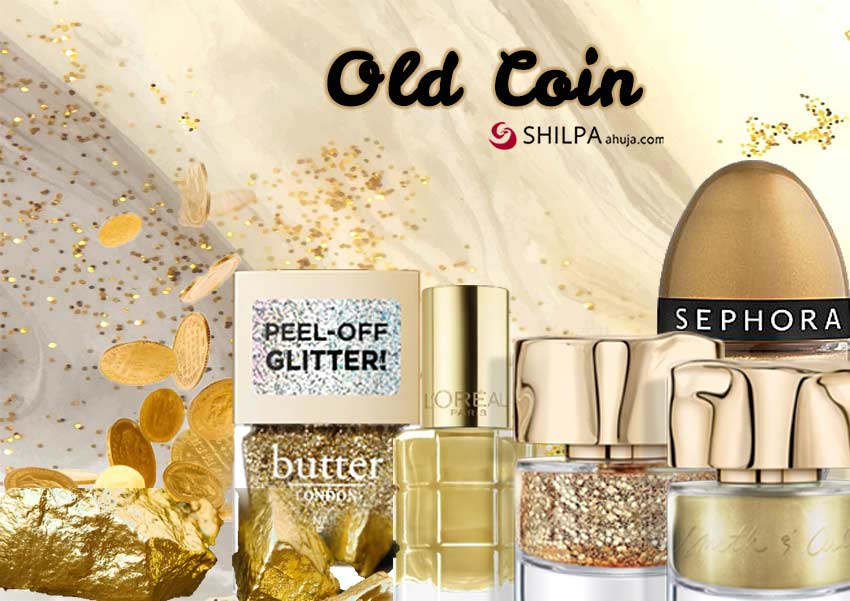 old-coin-glitter-trending nail polish colors-golden