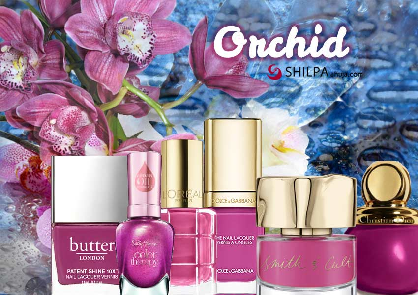 orchid-flower-party-wear-trending nail polish colors-pinkish-purple