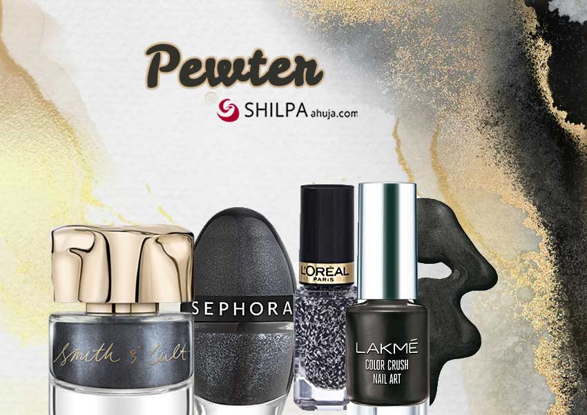pewter-sparkle-trending nail polish colors-black-glitter
