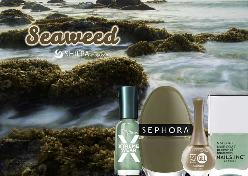 seaweed-grass-trending nail polish colors-olive-green