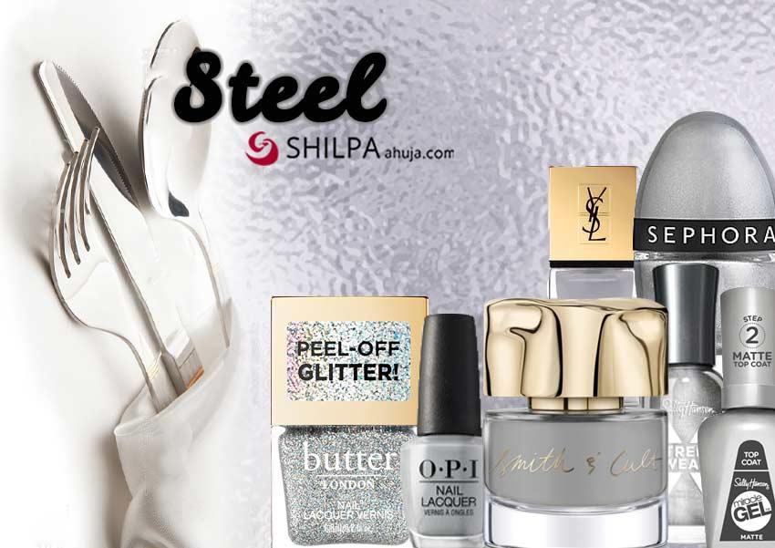 steel-glitter-trending nail polish colors-silver-glitter