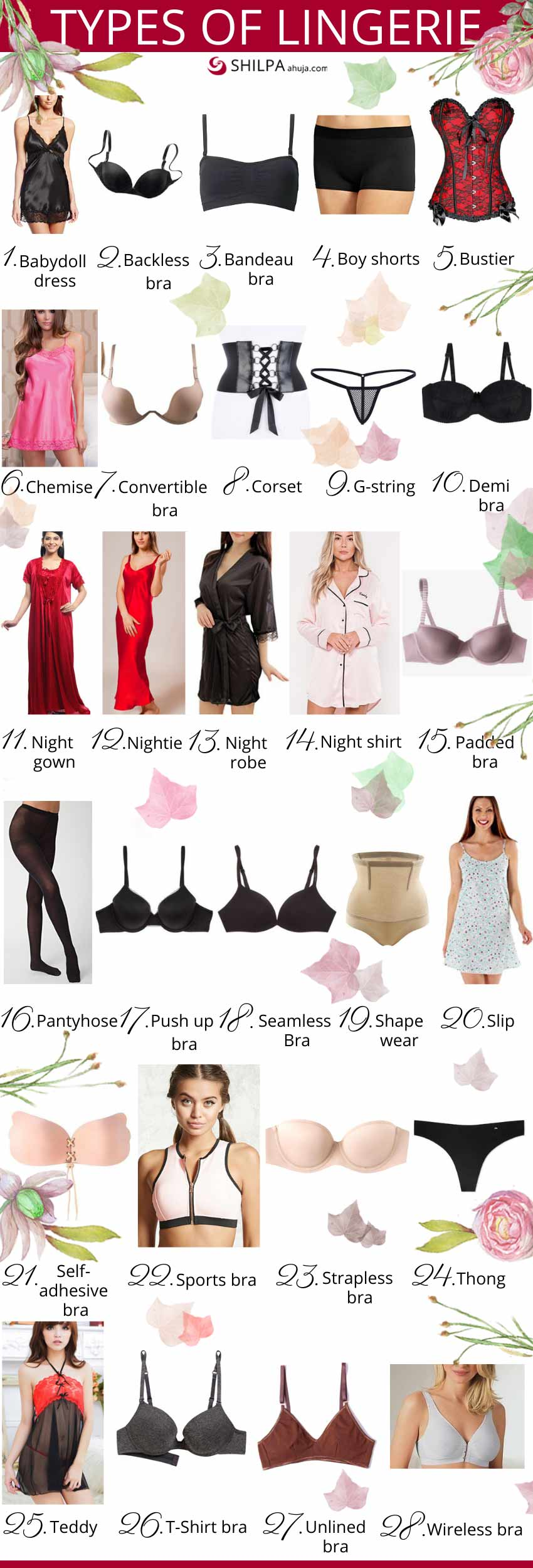 different Types-of-Lingerie womens underwear night wear