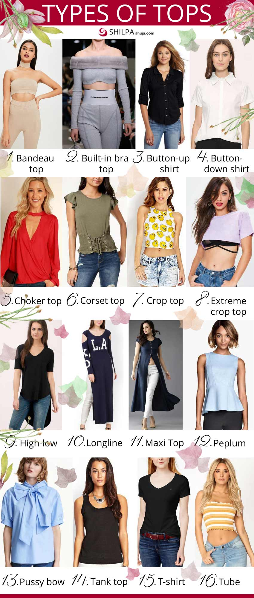 different Types-of-tops womens shirts