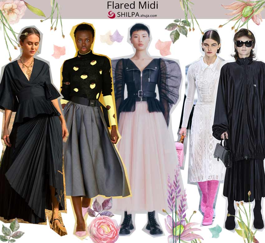 runway skirt trends best spring summer 2021 ss21 Flared-Midi