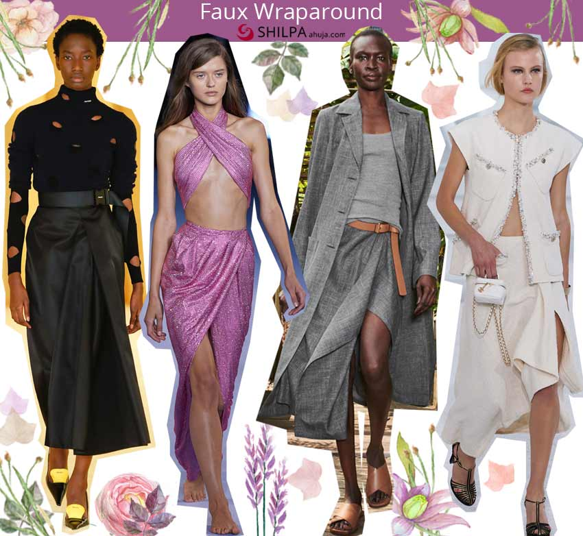 spring summer 2021 ss21 latest skirt trends Faux-Wraparound