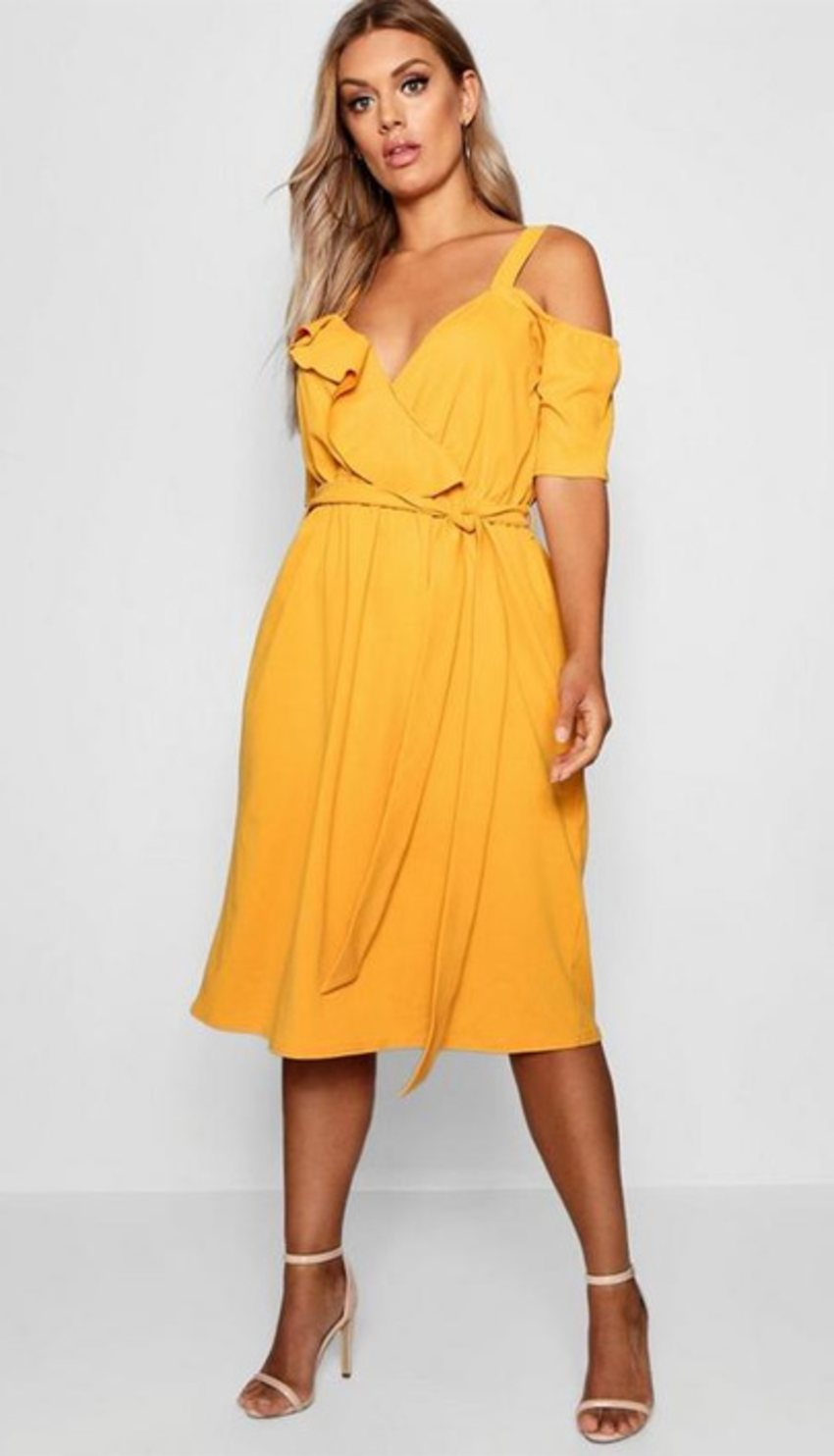 ruffle-midi-dress-for-big-stomach-issues