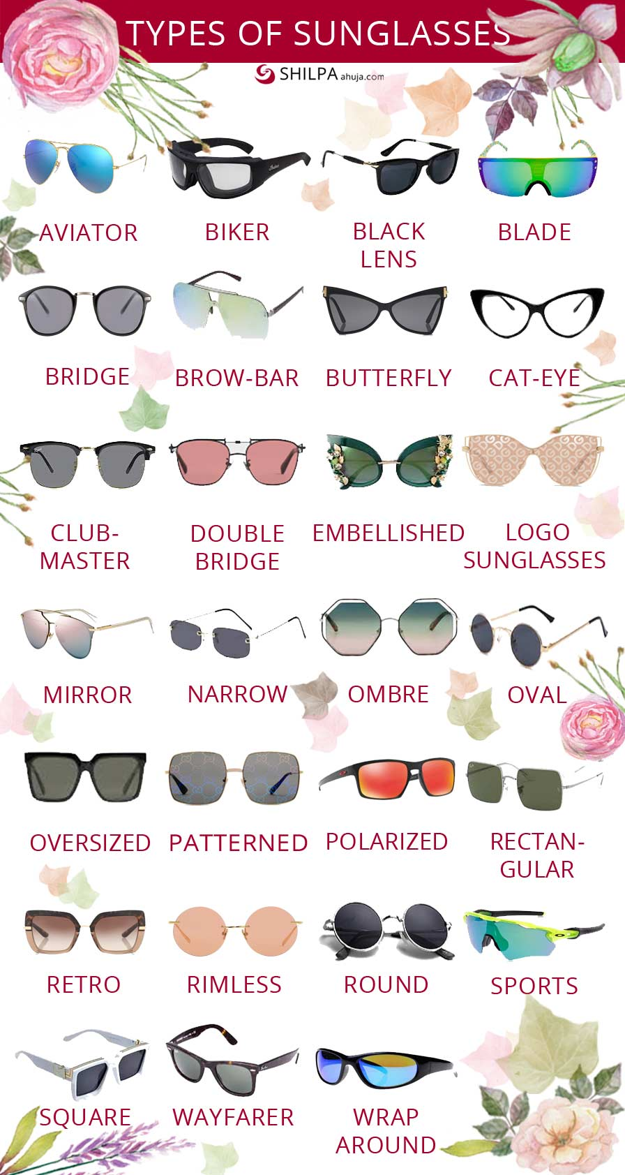 different-types-of-sunglasses fashion-words-glossary-dictionary-terms-infographic