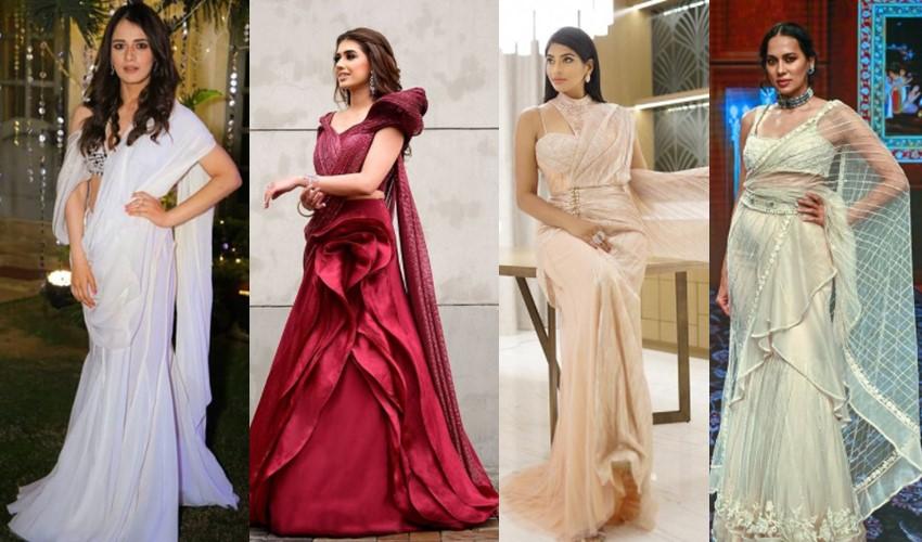 pleatless-concept-sarees-manish-malhotra-gaurav-gupta-tarun-tahiliani-ridhi-mehra-saree-trends-2021