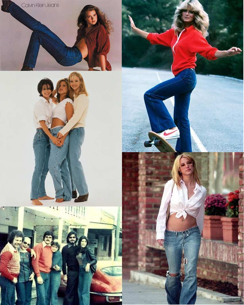 collage of different styles of jeans over the decades. Best jeans for your body types.