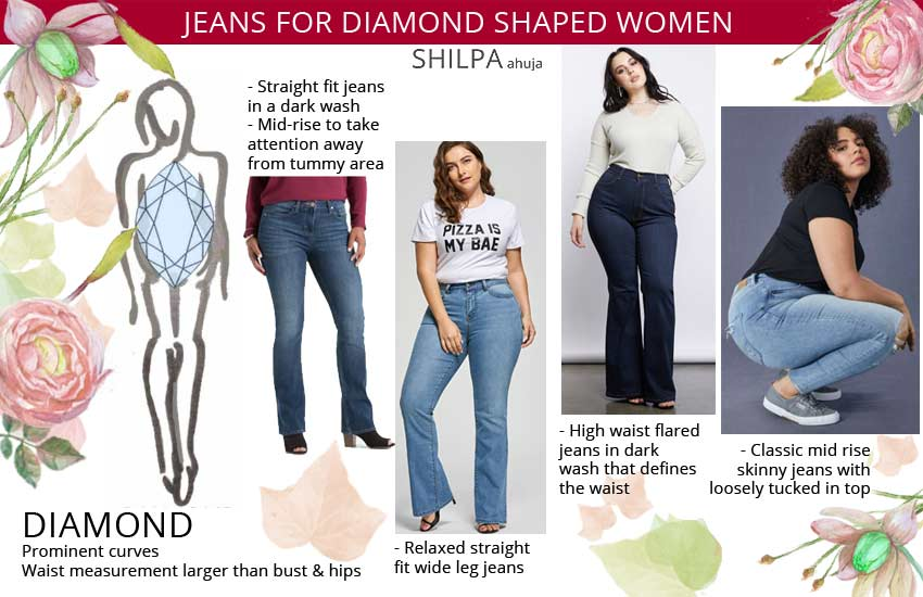 best jeans for diamond shaped women. Best jeans for your body type.