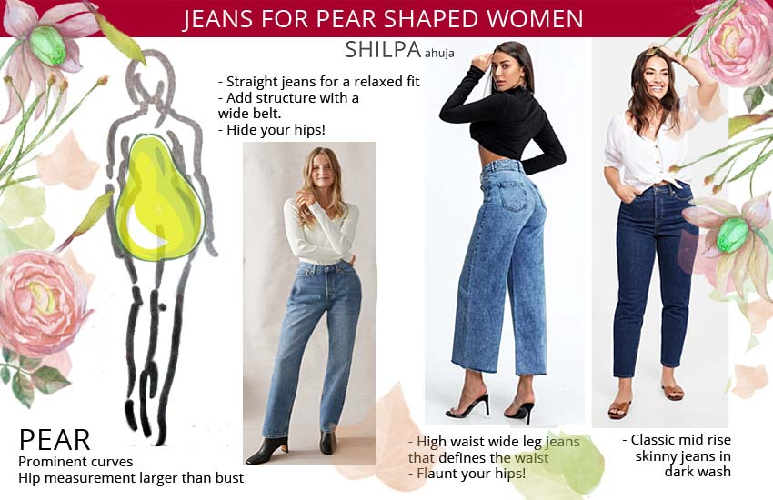best jeans for pear shaped women. Best jeans for your body type.