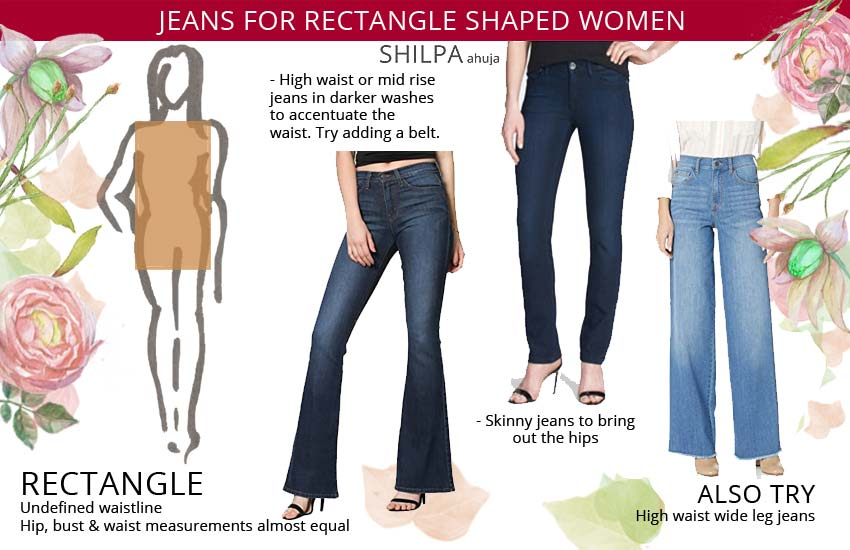 best jeans for rectangle shaped women. Best jeans your body type.