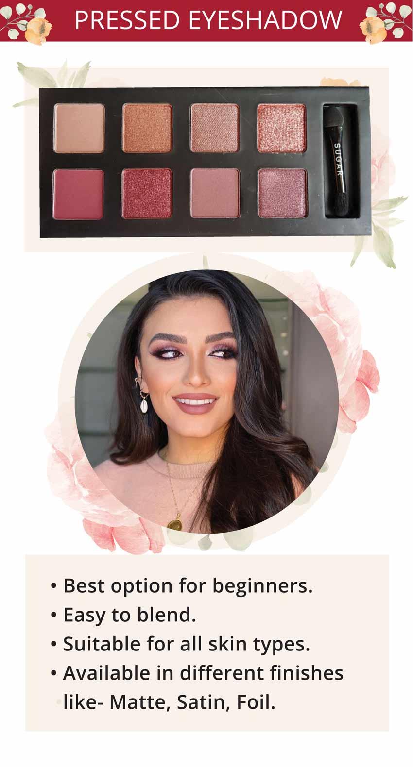 sugar cosmetics pressed eyeshadow makeup look inspiration