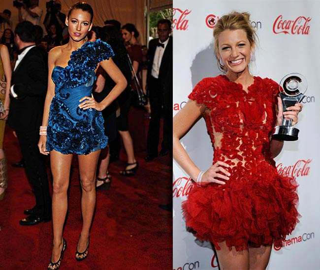 Blake Lively in shorter bolder silhouettes in different fabrics