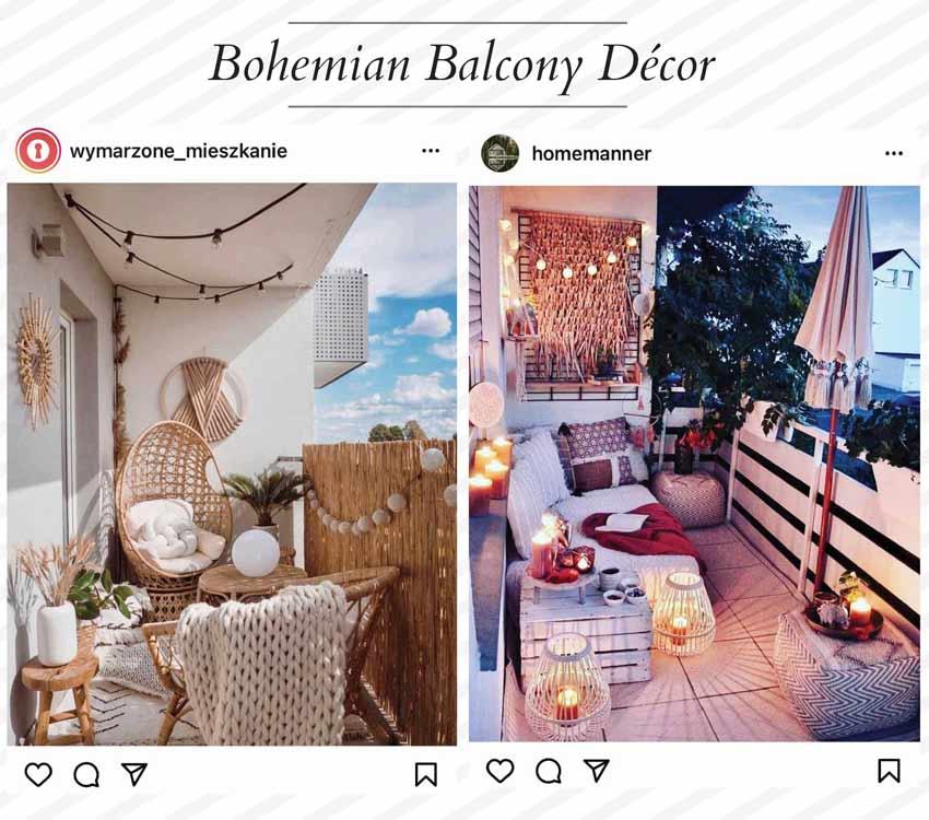 bohemian balcony décor ideas